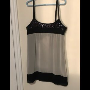 Guess Sheer and Sequin Tank Top size Small